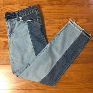 Asymmetrical Two Toned High Waist Jeans